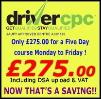 Five day Driver CPC Course for £275.00